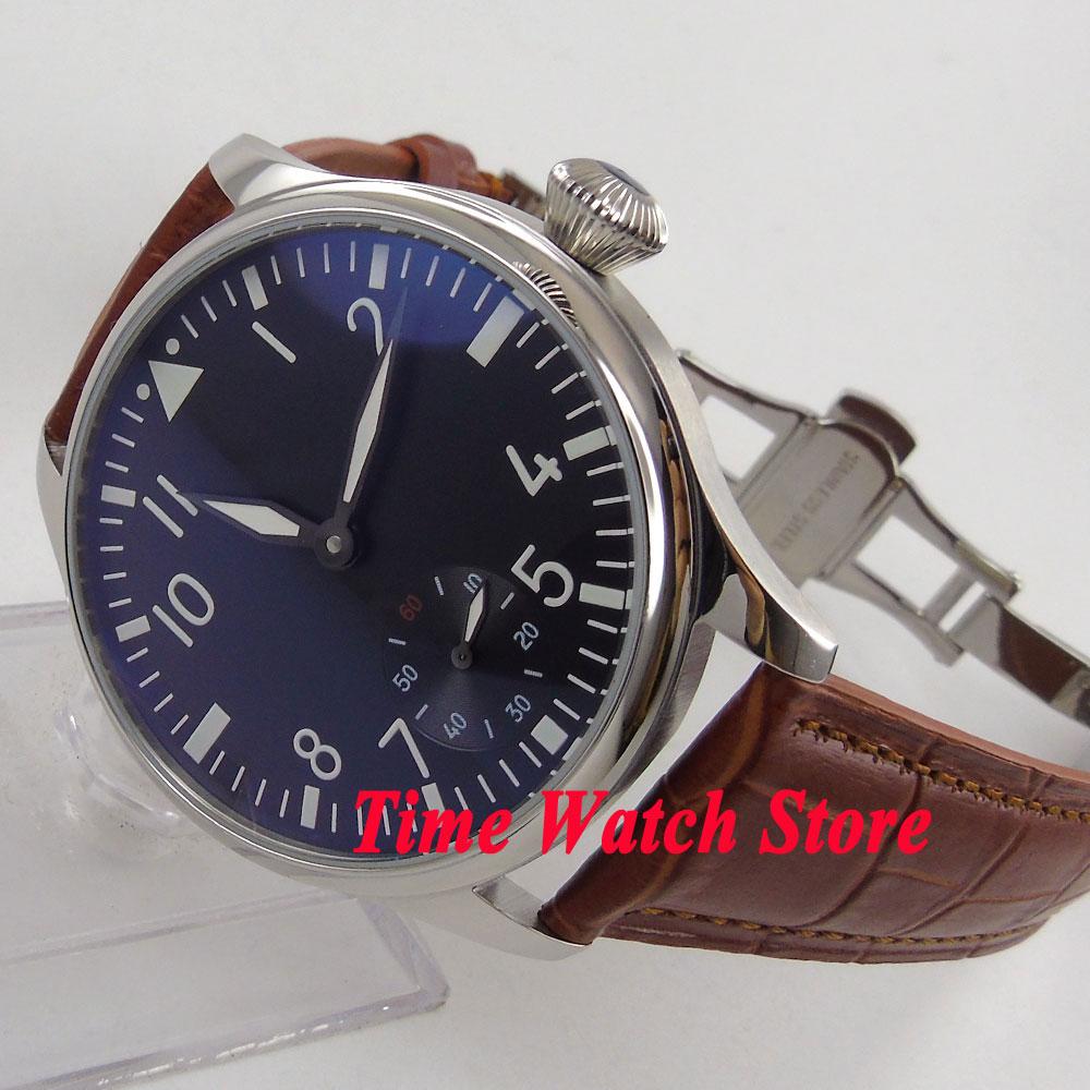 Vintage 44mm Parnis watch no logo black dial luminous 17 jewels mechanical 6498 hand winding movement