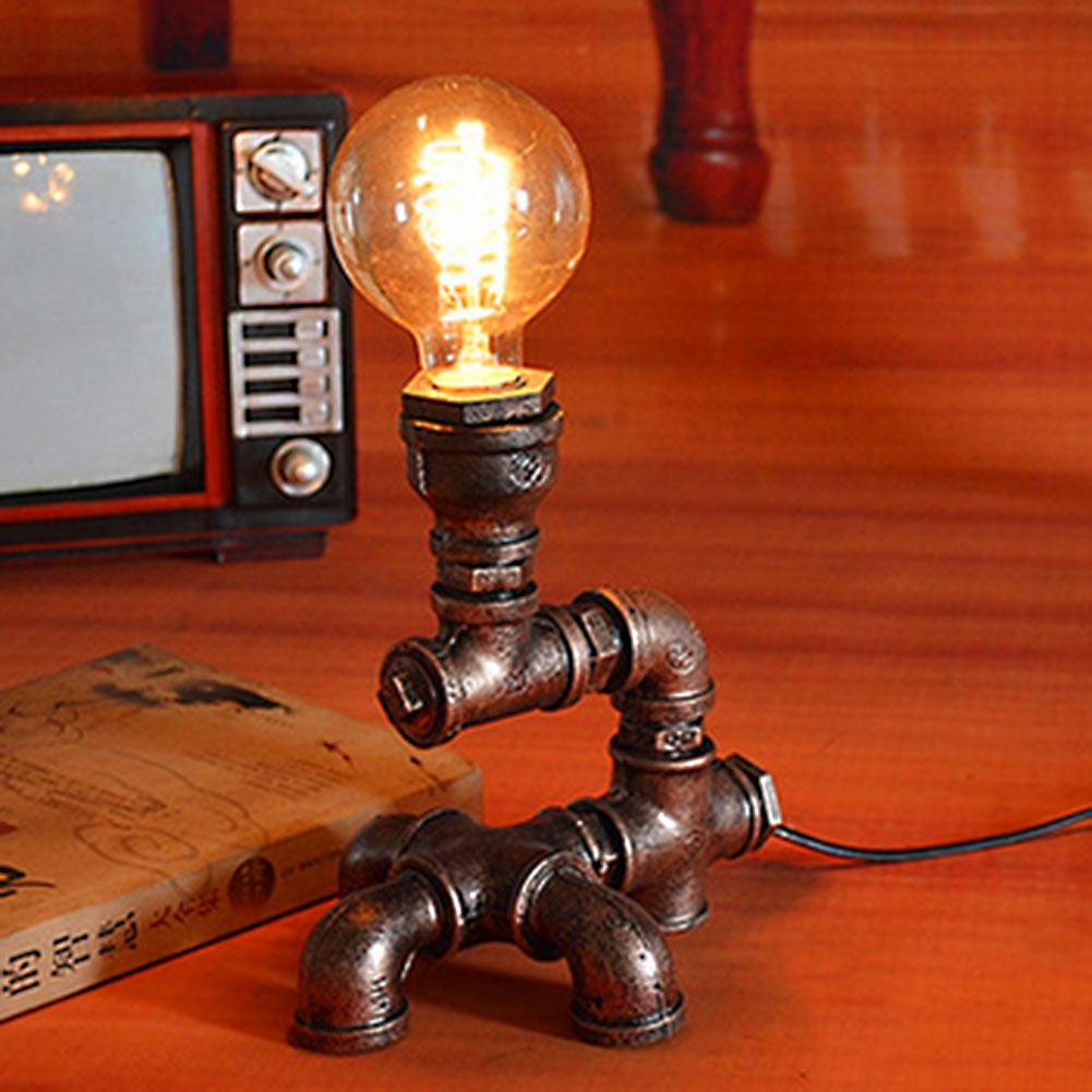 ФОТО Retro Vintage Brightness Adjustable Bronze Metal Water Pipe Desk Table Lamp Light Holder with T Shaped Base US Plug for E27 Bulb
