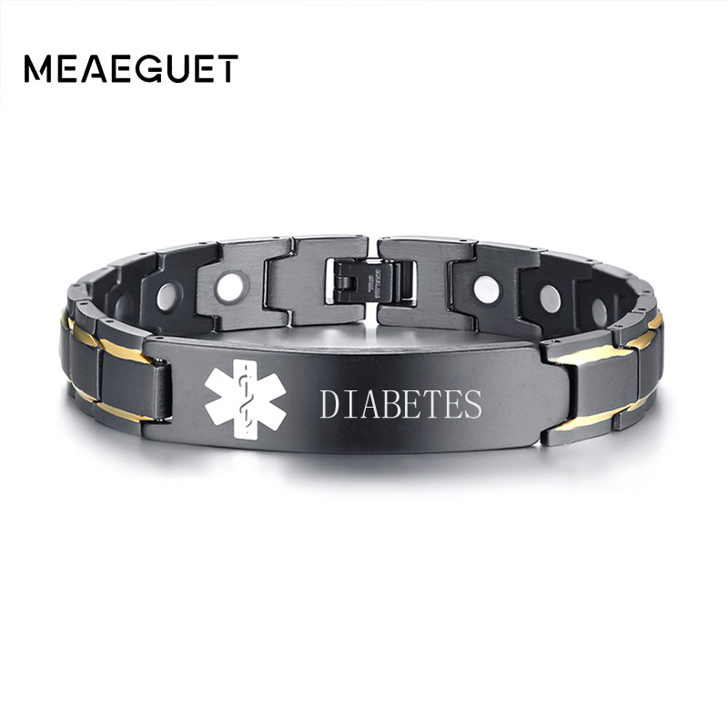 Meaeguet Spedizione Incisione In Acciaio Inox Salute Magnetica Medical Alert ID Del Braccialetto Per Gli Uomini Terapia Biomagnetico Del Polsino Dei Braccialetti