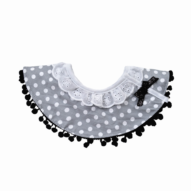 Ins Nordic Style Cotton Lace Summer Breathable Bib Grey White Dot Baby Girls Princess Bibs Round Waterproof in Bibs Burp Cloths from Mother Kids