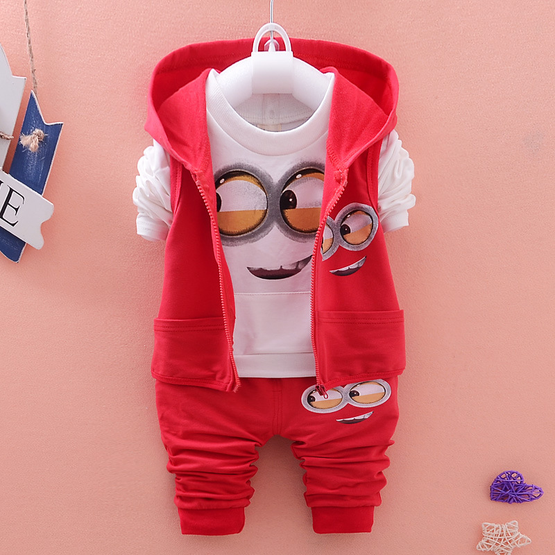 Minion Despicable Autumn Winter New Bodysuits Baby Boys Girls Kids Children's Set Hooded Outerwear Long Sleeve Clothes Outfits new 2015 autumn winter fashion baby kids boys long sleeve shirt jeans denim trousers set outfits 1 6y