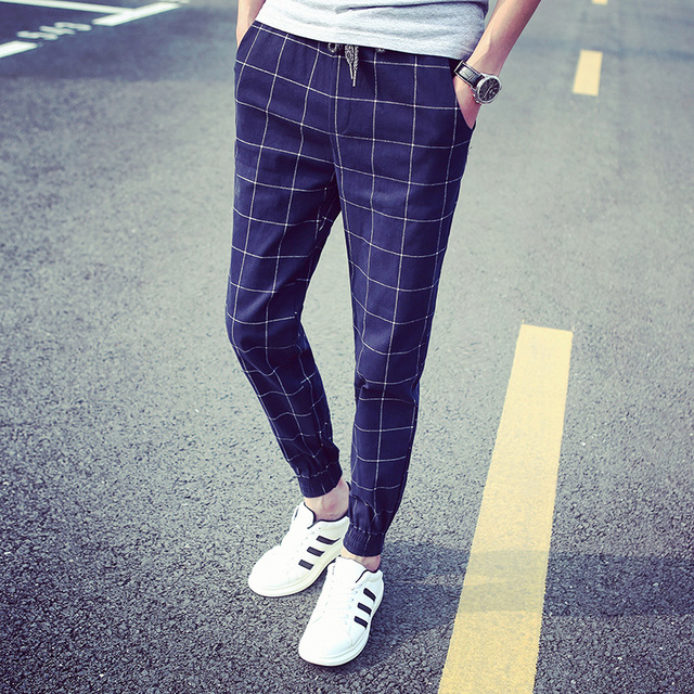 09d79d0ea9 A cuadros hombre pantalones 2016 nueva primavera marca moda Hip Hop chándal  Joggers pantalones harén hombres