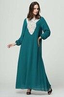 Для женщин шифоновое платье Макси Кафтан джилбаба Исламская Абаи мусульманское платье с длинными рукавами