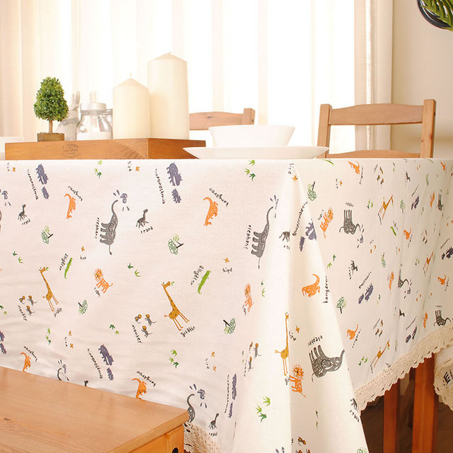 Akiu0027s Gift Home Decoration Cotton Linen Blend White Lace TableCloth  Reactive Printing Cute Cartoon Table Cover