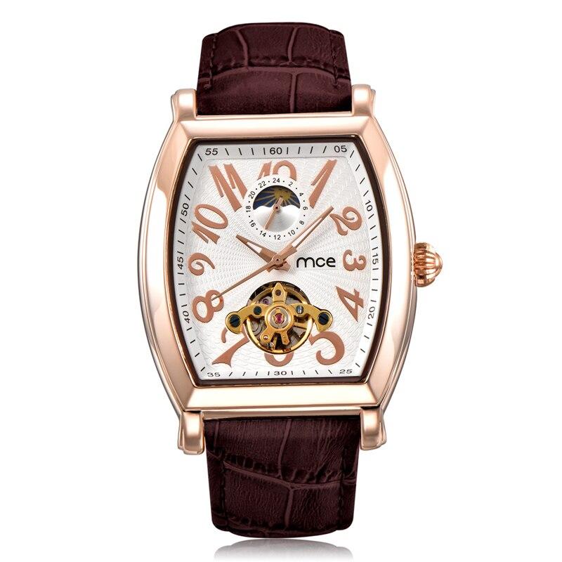 ФОТО MCE Brand Mechanical Watches Sports Men 2017 Automatic Leather Strap Business Watch Men Clock Tourbillon Relogio Masculino 445