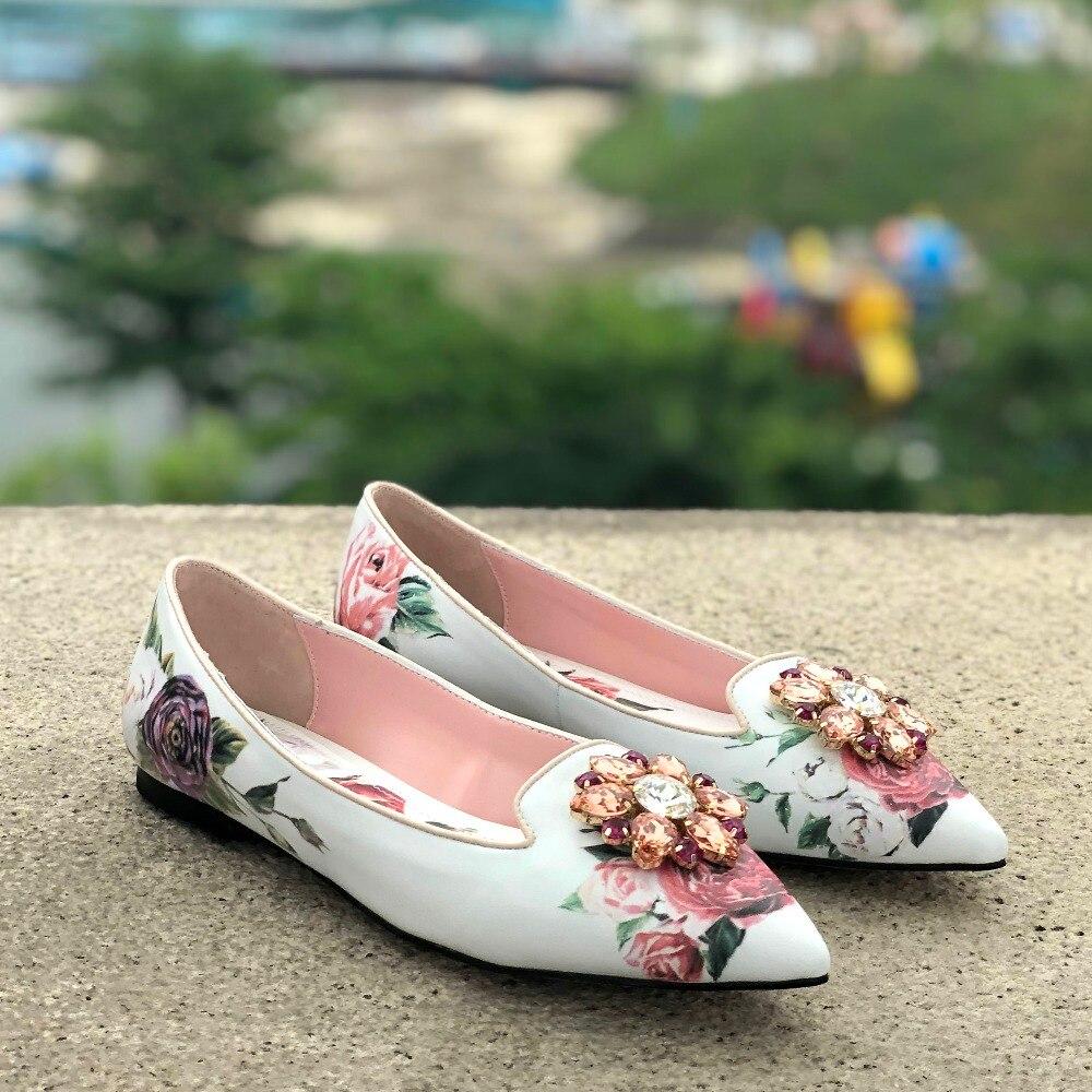 Mode bout pointu imprimé Slim chaussures à talons courts fleur peint sexy pompes bling strass designer femme robe de soirée chaussures