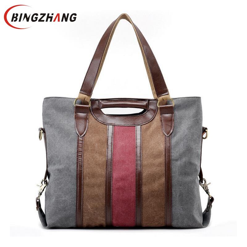 High Quality Patchwork Canvas Women Handbags 2017 Fashion Panelled Women Shoulder Bags Large Casual Tote Bag For Ladies L4-3073 aosbos fashion portable insulated canvas lunch bag thermal food picnic lunch bags for women kids men cooler lunch box bag tote