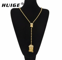 Catholic Double Jesus Pendant Rosary Necklace Charm Pendant Religious Gold Plated Long Bead Chain