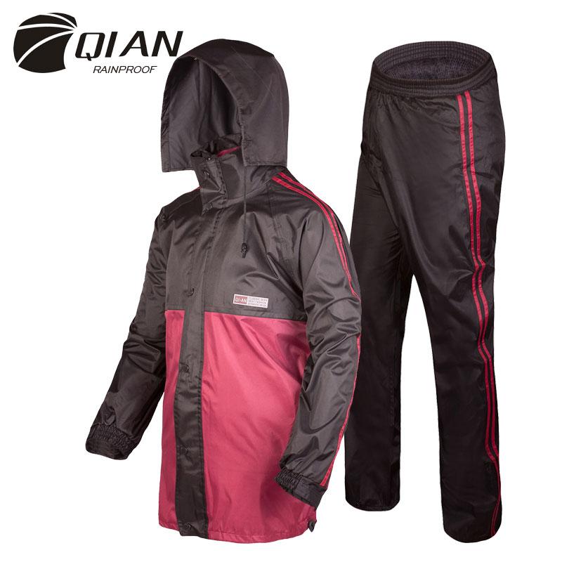 QIAN RAINPROOF Professional Adult Outdoor Rainsuit Hidden Rainhat Fashionable Multi functional Thicker Raincoat High Quality