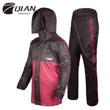 QIAN RAINPROOF profesjonalny kombinezon przeciwdeszczowy dla dorosłych ukryty płaszcz przeciwdeszczowy modny wielofunkcyjny grubszy płaszcz przeciwdeszczowy wysokiej jakości