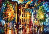 wallpaper about Beautiful streets Modern wallpaper for home decor oil painting printed on canvas for coffee and bar RZ057
