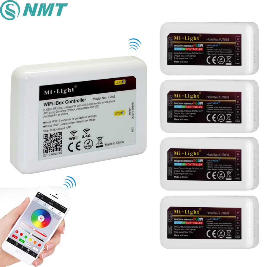 1pcs Milight wireless 2.4g RF Led Controller+4pcs 2.4g 4 Zone RGB/RGBW/RGBWW Controller