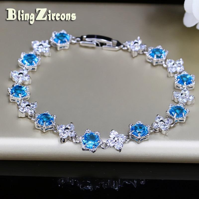 BlingZircons Elegant Star Shape Light Blue CZ Crystal 925 Silver Bracelets Women Four Leaf Flower Zirconia Female Jewelry B061 elegant faux gem rhinestone flower leaf brooch for women