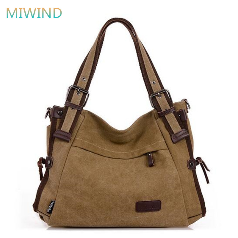 MIWIND 2018 Canvas Shoulder Bag Casual Style For Women Handbags Vintage Women Messenger Bags Quality Trendy Tote Bag CB196 casual style print and canvas design satchel for women