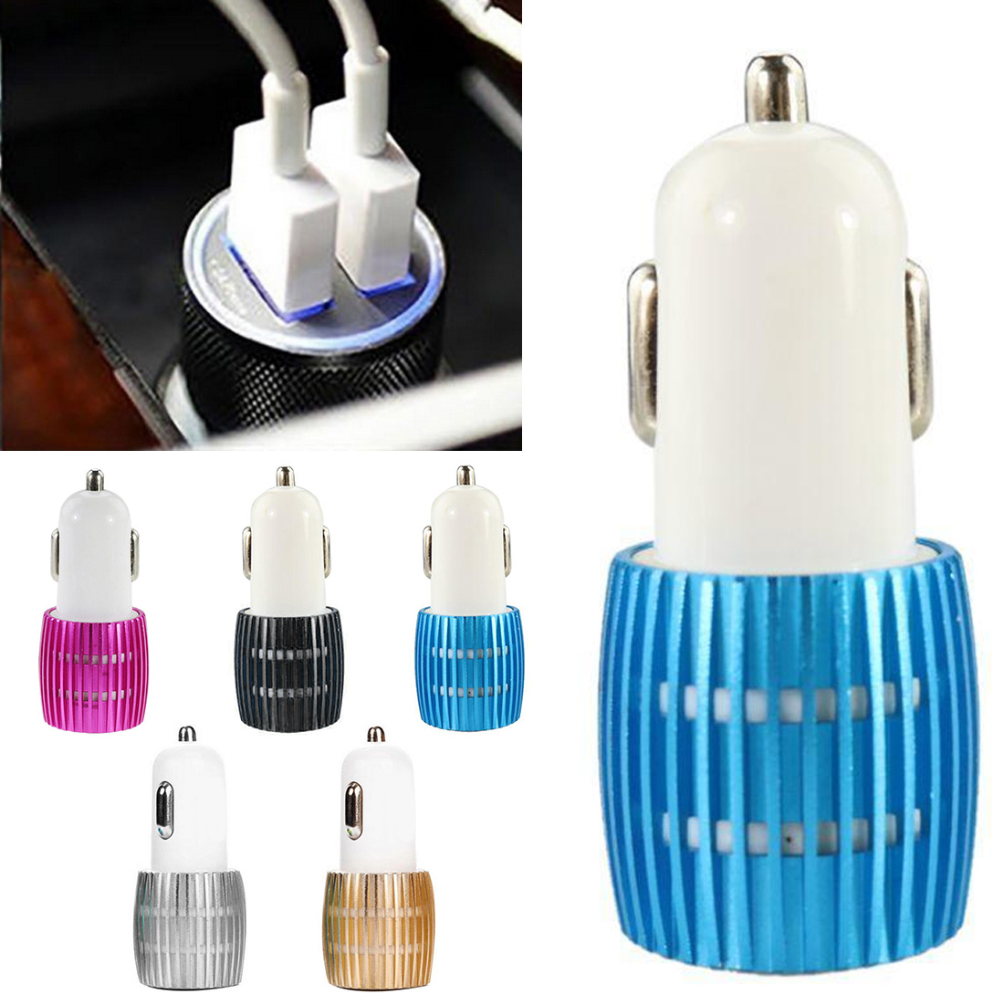 Phone Adapter Charger Electr  Mini USB Car Charger One Drag Two Converter Car Charger Metal Small Steel Gun Dual USB Car Charger