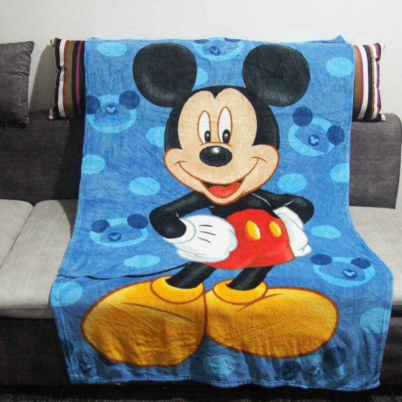 Disney Blue Mickey Mouse Coral Fleece Boys Summer Sleeping Cover Blanket Throw 100x140cm On Bed Sofa