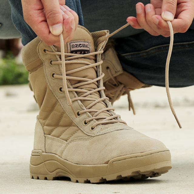 2017 Botas de Desierto botas de Combate Táctico Militar Ejército Outwere Viajes Tacticos Zapatos Botas Otoño Tobillo Hombres Botas de Cuero Masculino negro