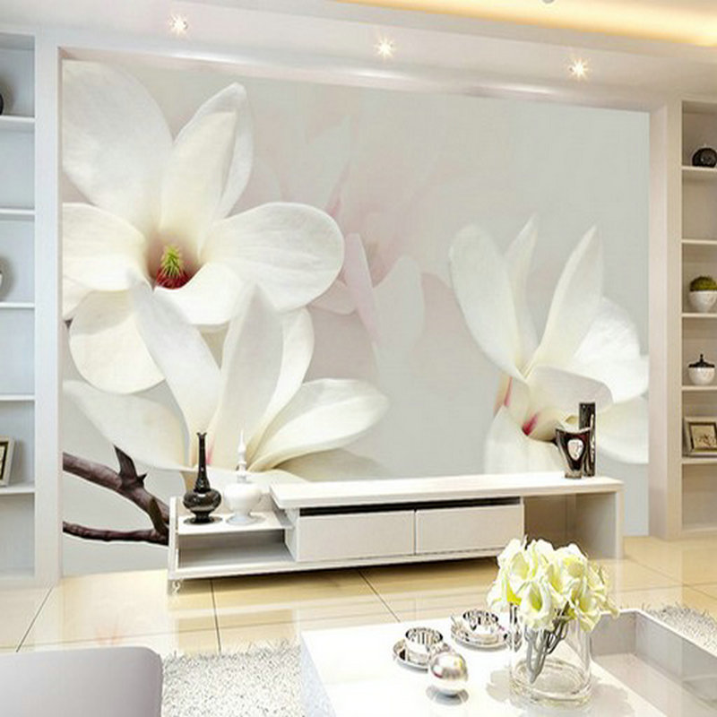Us 14 8 8d 5d White Mangnolia Flower Papel Mural 3d Wall Murals Wallpaper For Living Room Tv Sofa Background 3d Photo Mural Wall Paper In Wallpapers