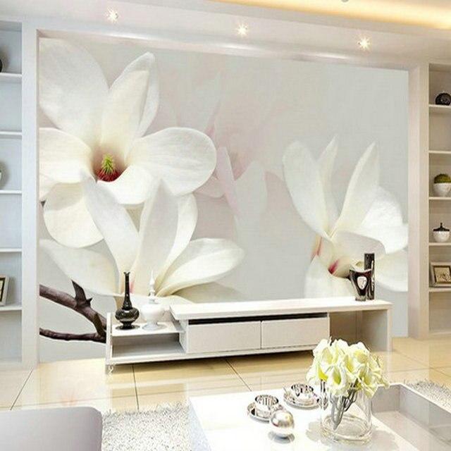 8d 5d White Mangnolia Flower Papel Mural 3d Wall Murals Wallpaper