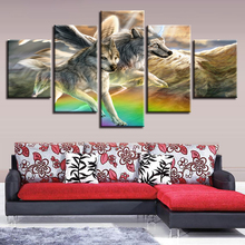 Animal Canvas Pictures HD Printing Decor Room Wall 5 Pieces Wolf Couple Running Landscape Paintings Poster Modular Framework Art