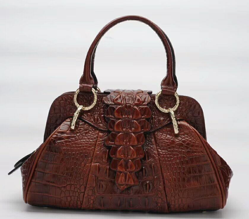 high quality vintage women bag genuine leather crocodile pattern women bags luxury ladies handbags