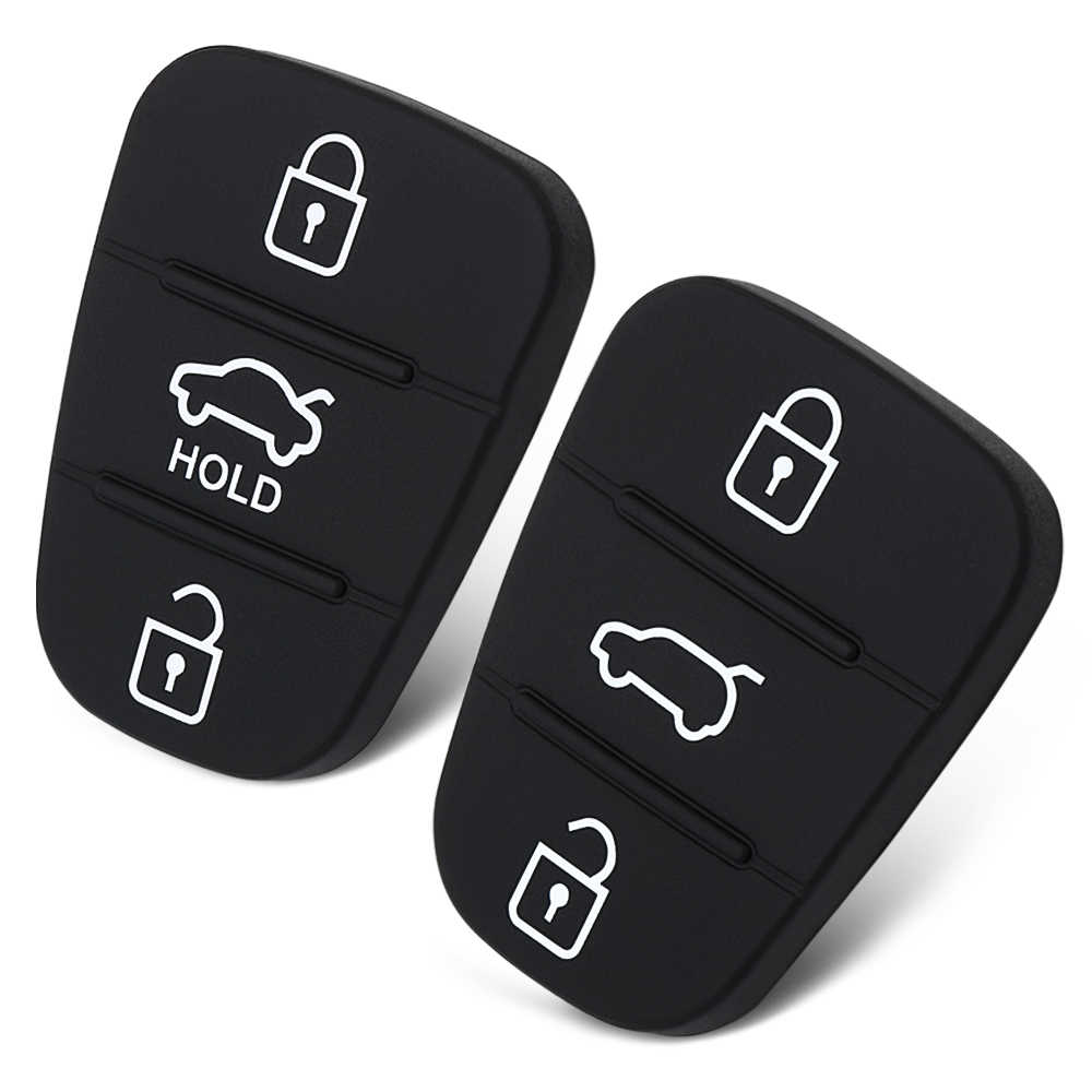 3 botões Para Hyundai Accent Solaris Tucson l10 l20 l30 Rio Kia Ceed Silicone Tampa Da Chave Do Carro Caso De Borracha Pad botão