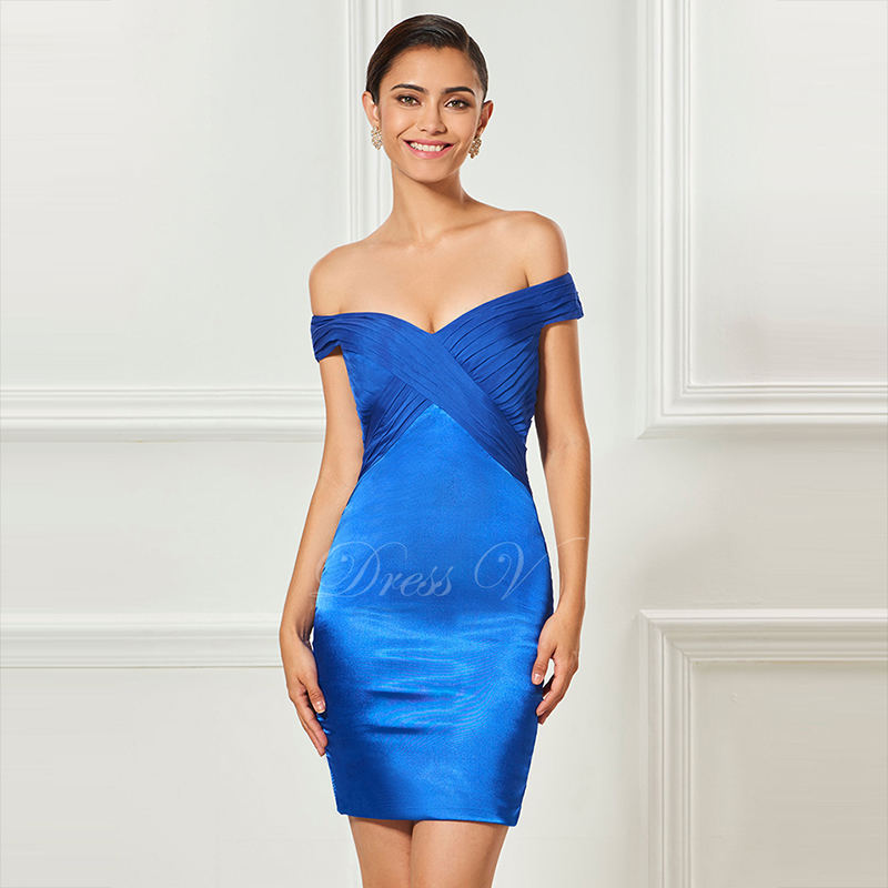 Tanpell strapless   cocktail     dress   royal blue lace knee length sheath   dress   women party office customed short   cocktail     dresses