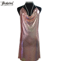 Yackalasi party dress rose goud vrouwen sexy club kleding champagne gold metal mesh 2017 spaghetti vestidos
