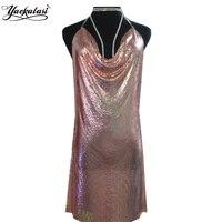 TurqBlue Kendall Jenner 21st Birthday Party Dress Women Sexy Nighclub Sliver Metal Dresses Spaghetti Strap Sequins