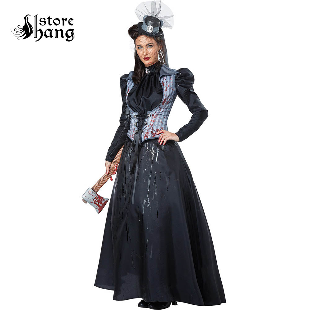 Medieval Victorian Devil Axe Murderess Costume Vintage Earl Queen Cosplay With Top Hat Renaissance Gothic Halloween Masquerade