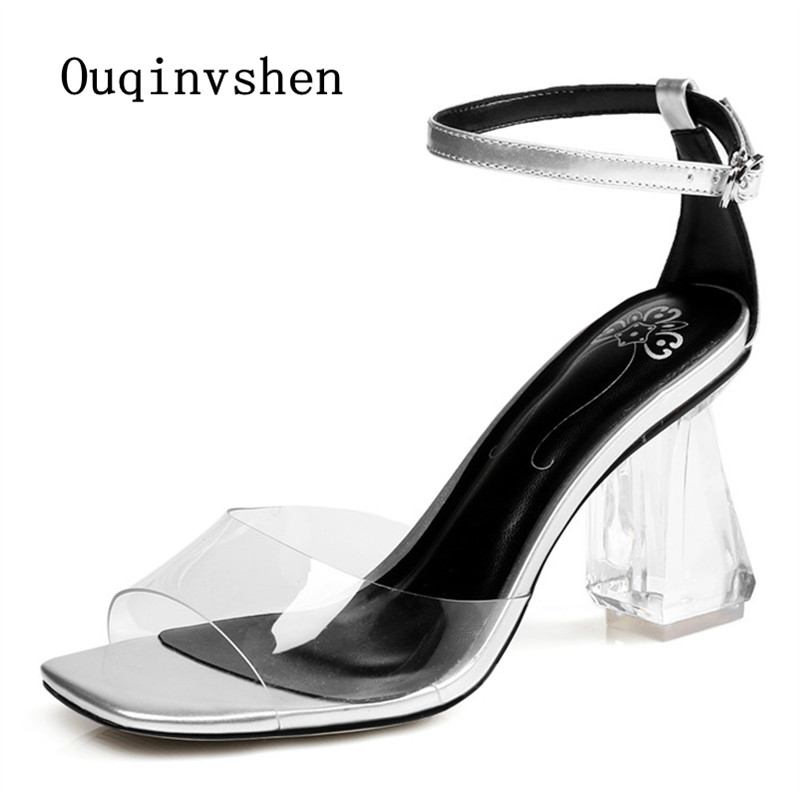 ФОТО Transparent Heels Shoes 2017 The New Women Summer Sandals Casual Buckle Strap Crystal Sandals Square head Rubber sexy sandals