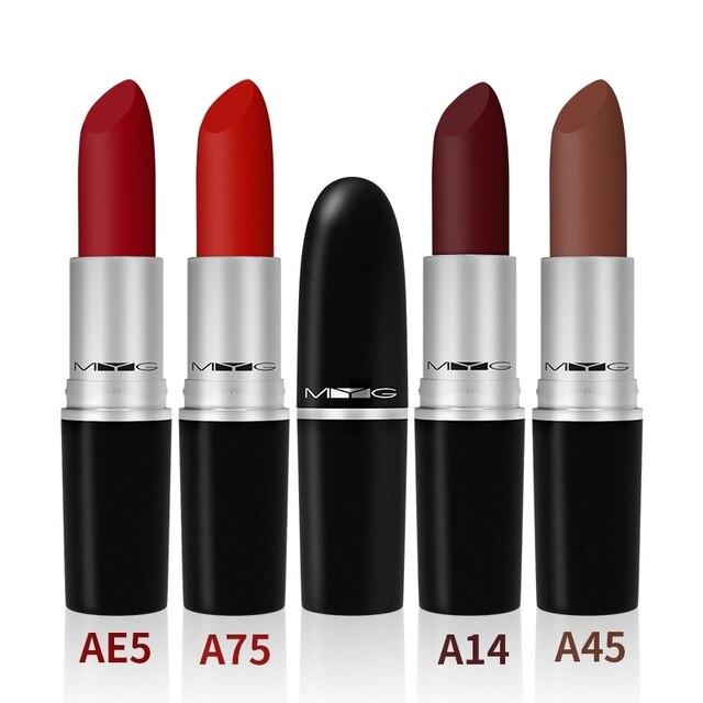 26 Colors MYG Matte Waterproof Velvet Lipstick Sexy Red Brown Pigments Makeup Pumpkin Water-Resistant Profissional Lipstick 5
