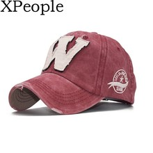 XPeople Embroidery Denim Cotton Washed Distressed Hats Initial Raised Letters W Classic Baseball Cap Vintage Adjustable Snapback