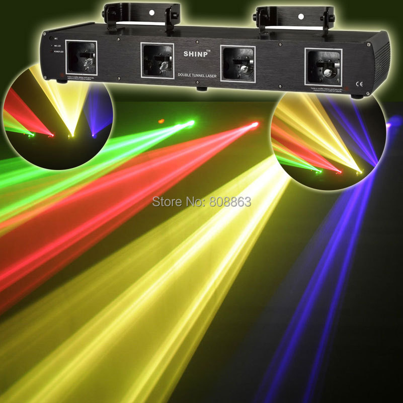 HOT 4 Lens Purple Green Red Yellow DMX512 Laser show lighting Party ktv disco dance club Professional Stage light system x7 ...