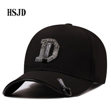 1005a7d8ae7a5 2018 Summer New Women Diamond Letter D Rhinestone Baseball Caps For Lady  Female Adjustable Hip Hop Fashion Shiny Snapback Hats