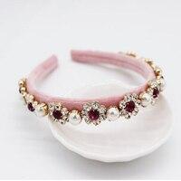 Барокко блестящая Жемчужина Драгоценный камень с головными повязками подиум для показа Женская повязка на голову розового цвета свадебные...