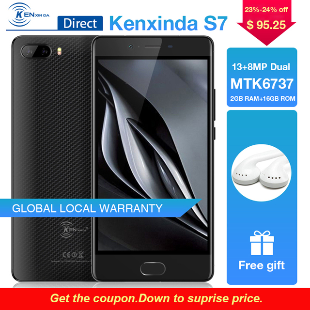 "Original Kenxinda S7 Fingerprint 5.0"" inch 4500mAh 13+8.0MP Dual Rear Camaras 4G Android7.0 Mobile Cellphone 16GB ROM Smartphone"