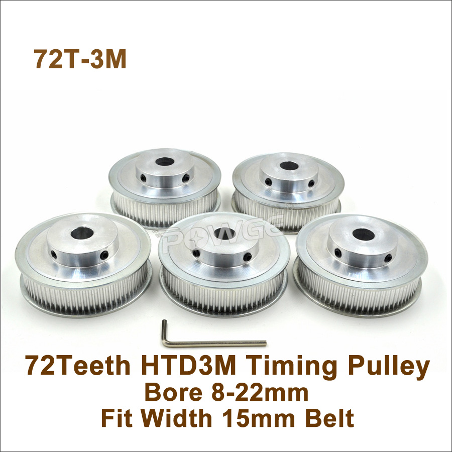 P0WGE 72 Teeth 3M Timing Pulley Bore8 10 12 14 15 19 10 22mm Fit W