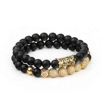 2018 2pc/set Crystal Ball Ethnic Hollow Rivet Charm Bracelets Set For Women Men Jewelry Matte Beaded Bracelet Accessories