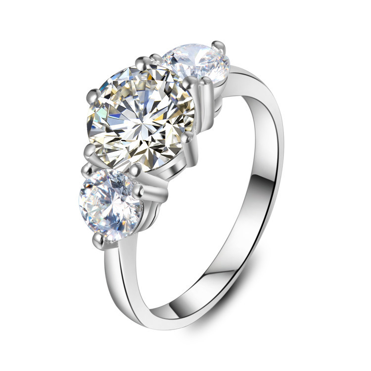 Us 104465 15 Off3ct Solide 585 Gold 3 Steine Persönlichkeit Test Positive Moissanite Hochzeit Ring Für Frauen Vollständig Als Abgebaut Diamant In