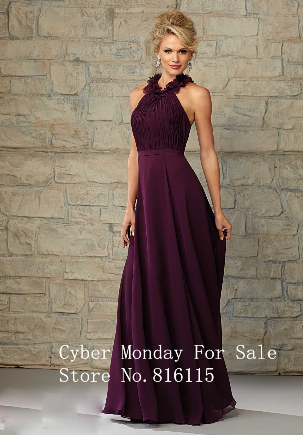 Online get cheap purple brides maid dress aliexpress new arrival halter chiffon sleeveless noite vestido longo long chiffon dark purple bridesmaid dresses long brides ombrellifo Image collections
