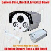 방수 총알 카메라 케이싱 및 브래킷 및 어레이 led ir 보드 크기 90 알루미늄 합금 케이스 ip66 야외 하우징 sunshield 커버