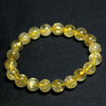 Wholesale Natural Genuine Yellow Gold Hair Needle Rutile Quartz Rutilated Finished Stretch Bracelet Round Jewelry beads 04200