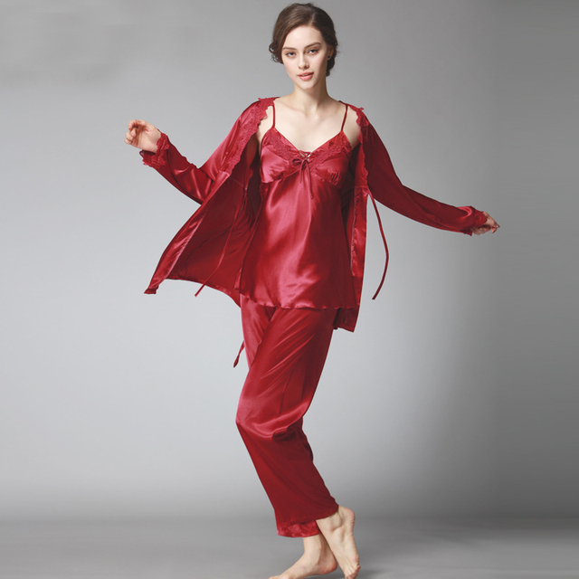 Sexy 3 Pieces Pajama Set Sleepwear V-neck Top Full Sleeves Full Length Pant Nightgown Autumn Silk Satin Pajama Women