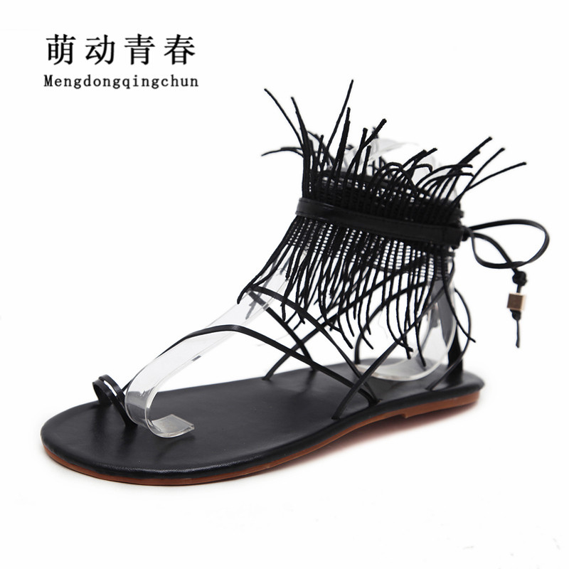 Fashion Women Flat Heel Shoes Gladiator Casual Lace Up Sandals Fringe Women Front Rear Strap Open Toe Flat Heel Sandals women sandals 2018 fashion summer shoes woman rome ankle strap flat sandals casual peep toe gladiator sandals low heel shoes