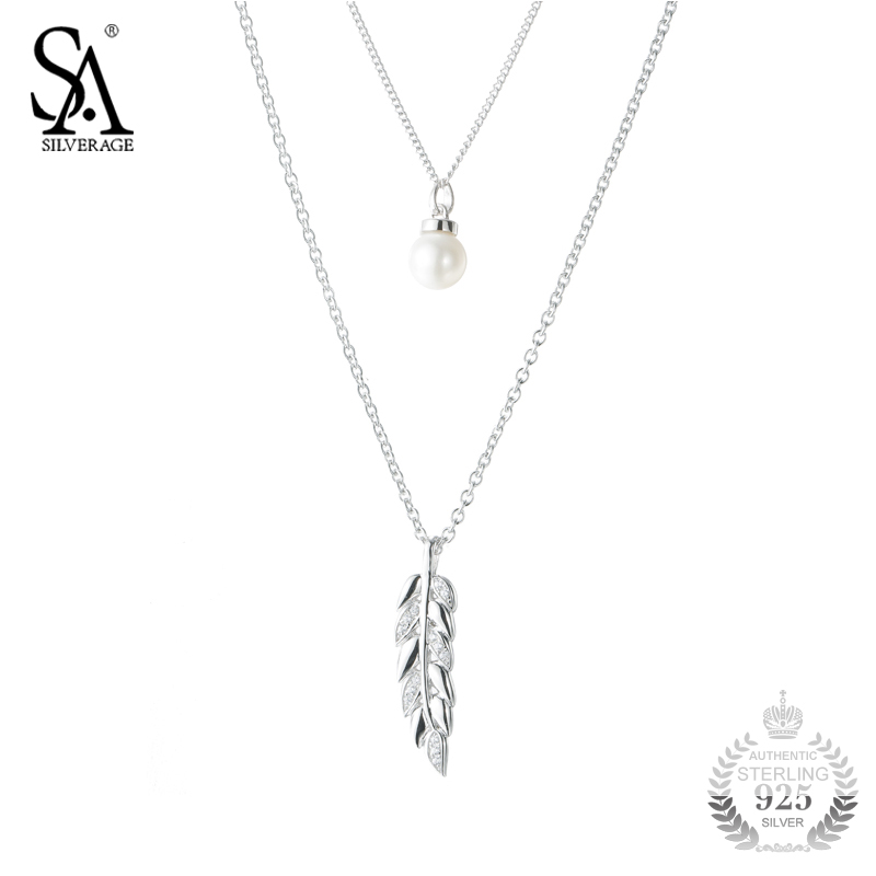 SA SILVERAGE Silver Pendant Necklace Pearl Wheat Leaf with Pearl 925 Silver Chain Two Layer Sweater Necklace Women Fine Jewelry все цены