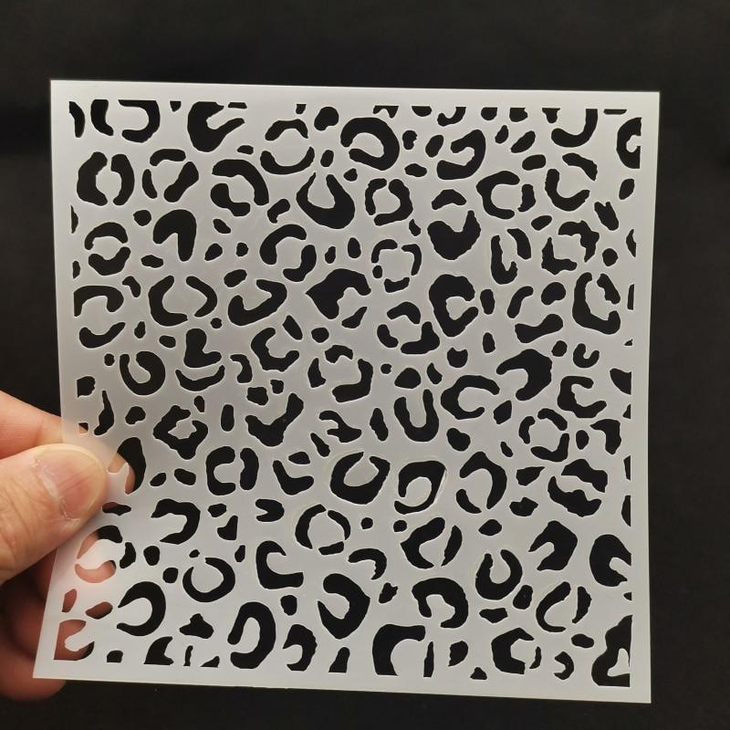 13*13 Leopard Print Pvc Layering Stencils For Diy Scrapbook Coloring,painting Stencil,home Decor Diy Etc. Product Image