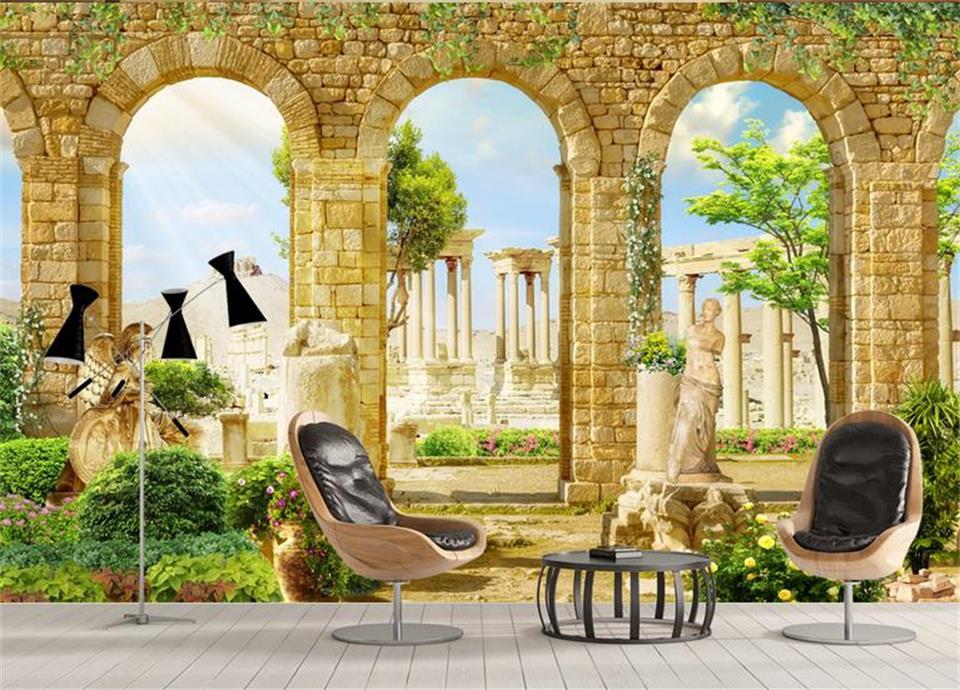 3d Custom photo mural 3d wallpaper Greek ancient Roman architecture ...