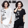 2015 new women short sleeve lace patchwork letter print casual summer t shirt O neck loose ladies tops tees plus size XXXL 6953