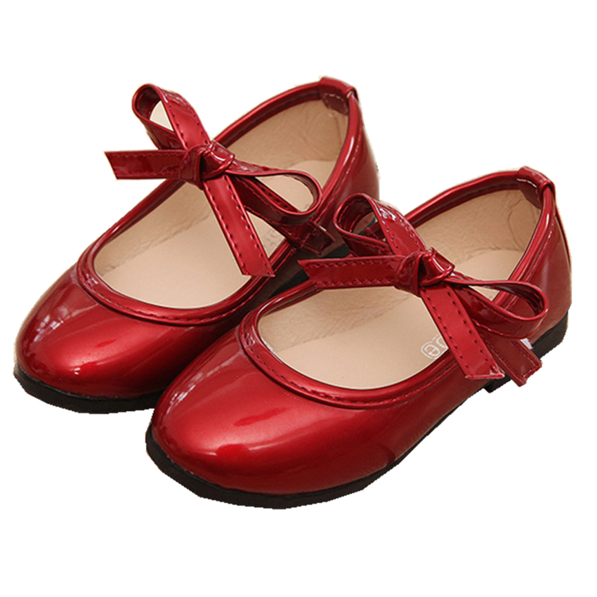 2018 Spring Princess Kids Shoes for Gilrs Red Bowknot PU Breathable Party Dance 4Color Solid Childrens Shoes Size21-36